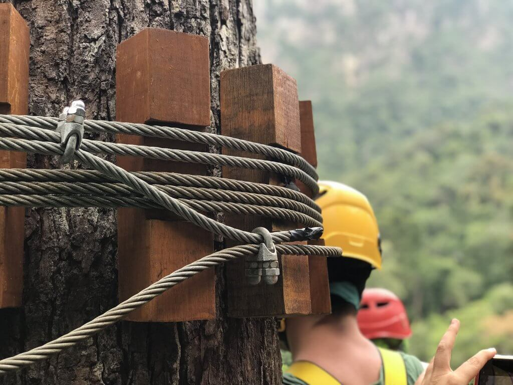 Umgawa Langkawi Eco Zipline Adventure wooden blocks to hold cables